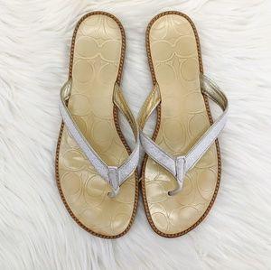 Coach sz. 7.5 flip flops cream, tan, brown white